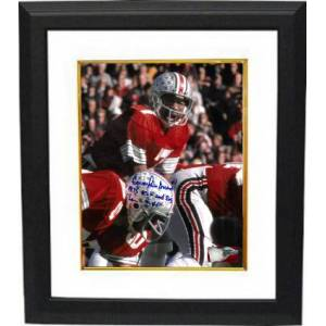 Athlon Sports CTBL-BW28053 Cornelius Greene Signed 1975 Ohio State Buckeyes 8 x 10 in. Photo Custom Framing No.7 OSU & Big Ten MVP - Red Jersey