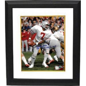 Athlon Sports CTBL-BW28054 Cornelius Greene Signed 1975 Ohio State Buckeyes 8 x 10 in. Photo Custom Framing No.7 OSU & Big Ten MVP - White Jersey