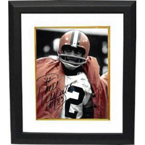 Athlon Sports CTBL-BW28082 Paul Warfield Signed Cleveland Browns NFL Vintage 8 x 10 in. Photo Custom Framing No.42 HOF 83 - Close Up