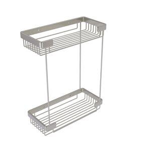Allied BSK-60DR-SN Double Tier Rectangular Toiletry Shower Basket, Satin Nickel