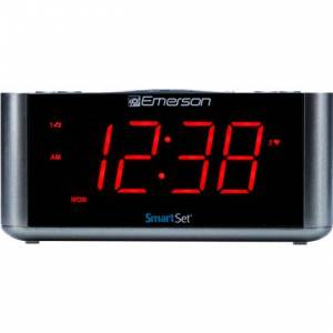 Moment-in-Time SmartSet Alarm Clock Radio with Bluetooth Speaker, USB Charger for iPhone & Android - Red LED Display