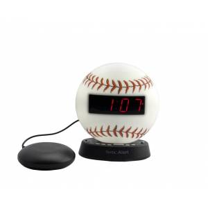 Sonic Alert SBW100BBSS The Sonic Glow Baseball Alarm Clock with Recorable Alarm & Sonic Bomb Bed Shaker