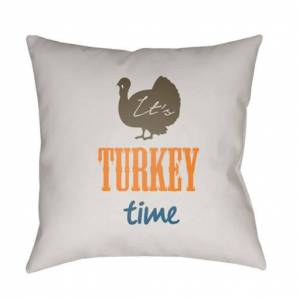 Surya TME002-2020 20 x 20 x 4 in. Its Turkey Time Square Throw Pillow, Multi Color