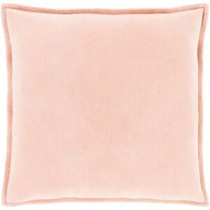 Surya CV029-1818P 18 x 18 x 4 in. Cotton Velvet Solid & Border Square Pillow Kit, Peach