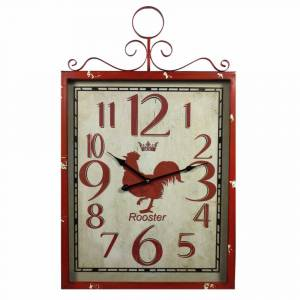 Benzara BM165132 27.5 x 2.3 x 17.7 in. Red Rooster Metal Wall Clock - Red