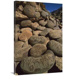 JensenDistributionServices 24 x 36 in. Carved Buddhist Mani Stones, Zangla, Kingdom of Zanskar,India Art Print - Colin Monteath