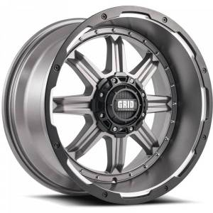 GRID WHEELS 1189237A6 18 in. Dia. x 9 in. GD10 0 mm Offset, 6 x 135 mm Wheel with Black Lip, Matte Anthracite