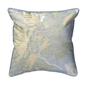 Betsy Drake SN214 Savannah River & Wassaw Sound, GA Nautical Map Small Corded Indoor & Outdoor Pillow - 12 x 12 in.