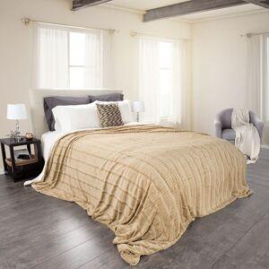 Lavish Homes Lavish Home 61-2-K-T Fleece & Sherpa Blanket, King Size - Taupe