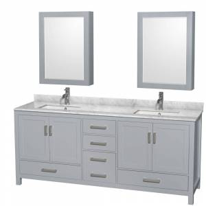 Convenience Concepts 80 in. Sheffield Double Bathroom Vanity in Gray with White Carrera Marble Countertop, Undermount Oval Sink & 70 in. Mirror