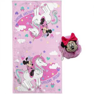 Mickey Mouse 820833 2 Piece Minnie Mouse Unicorn Bath Towel & 3D Loofah Set