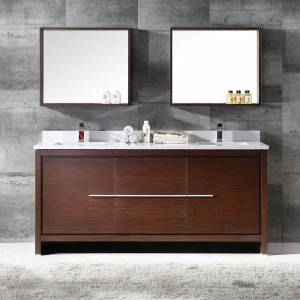 DeluxDesigns Apex  72 in.  Allier Wenge Brown Modern Double Sink Bathroom Vanity with Mirror