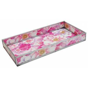 Convenience Concepts Pink Floral Print Decorative Glass Tray
