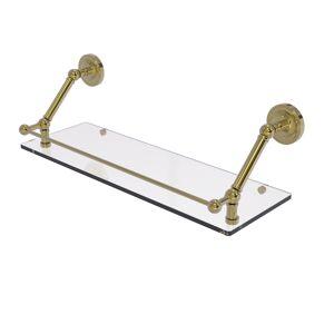 Allied PR-1-24-GAL-UNL 24 in. Prestige Regal Floating Glass Shelf with Gallery Rail, Unlacquered Brass