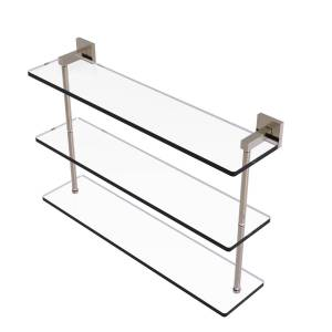 Allied MT-5-22-PEW 22 in. Montero Collection Triple Tiered Glass Shelf, Antique Pewter