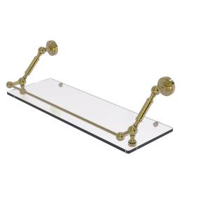 Allied DT-1-24-GAL-UNL 24 in. Dottingham Floating Glass Shelf with Gallery Rail, Unlacquered Brass