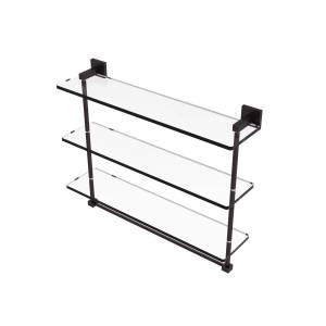 Allied MT-5-22TB-ABZ Montero Collection 22 in. Triple Tiered Glass Shelf with integrated towel bar, Antique Bronze