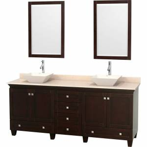 Convenience Concepts Acclaim Double Vanity In Espresso, Marble Vanity Top In Ivory, Bone Sinks