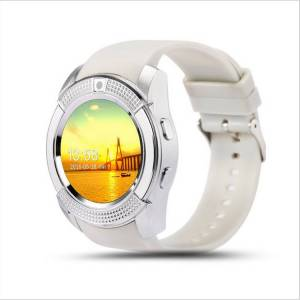 TechComm V8-WHITE V8 Smart Watch with Camera, Bluetooth, GSM & IPS Display, White