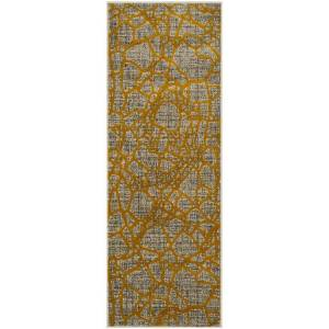 Safavieh PRL7737C-27 Porcello Power Loomed Rectangle Area Rug, Light Grey & Yellow - 2 ft.-4 in. x 6 ft.-7 in.