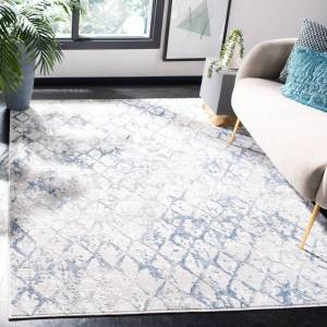 Safavieh ALA783G-5 5 ft. 3 in. x 7 ft. 6 in. Amelia Rectangle Power Loomed Area Rug, Light Grey & Blue