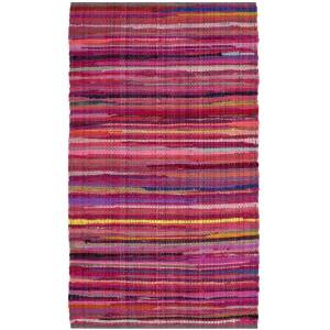Safavieh RAR240D-24 Rag Hand Woven Accent Area Rug, Red & Multicolor - 2 ft. 6 in. x 4 ft.