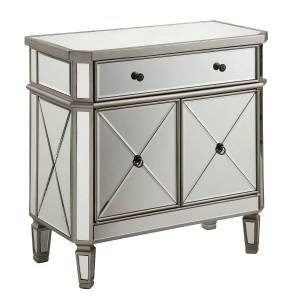 Elegant Decor MF6-1002SC 1 Drawer 2 Door Cabinet Silver Clear, Hand Rubbed Antique Silver - 32 x 16 x 32 in.