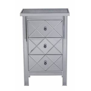 Heather Ann Creations W192087-WANT Emmy 3-Drawer Mirrored Accent Cabinet - Antique White