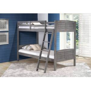 Pivot Direct PD-2010TTAG Twin over Twin Louver Bunk Bed in Antique Grey