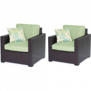 Hanover METMN2PC-B-GRN Metro Mini Set 2 Deep-Seating Arm Chairs with Green Cushions & Brown Frames - 2 Piece