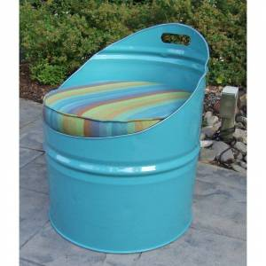 Drum Works Furniture 2005 Laguna Indoor & Outdoor Club Chair, Turquoise & Multi Color - 28.5 x 22 x 24 in.