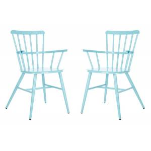 Safavieh PAT3001D-SET2 Clifton Arm Chair, Baby Blue - Set of 2