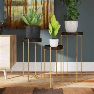 Aspire Home Accents 7029 Heming Black & Gold Accent Tables - Set of 3