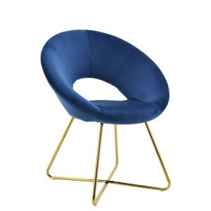 Best Master Furniture WY439-Blue Accent Chair Williams Blue Velvet With Gold Plated Legs Accent Chair