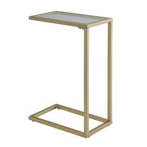 Carolina Cottage CF1610G-GLD Aggie Glass Top Accent Table - Gold - 25.3 x 10 x 16 in.