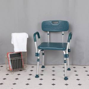 Flash Furniture DC-HY3523L-NV-GG 20.75 in. 300 lbs Hercules Series Adjustable Bath & Shower Chair with Quick Release Back & Arms, Navy