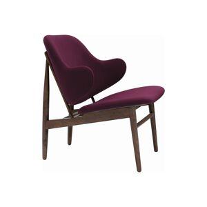 GFurn 2309241-83110-733 Modern Mid-Century & Scandinavian Walnut & Ruby Fabric Veronic Lounge Chair