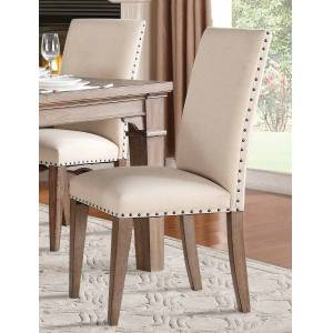Home Elegance 5108S 40 x 24 x 20 in. Mill Valley Side Chair - Weathered Wash - Set of 2