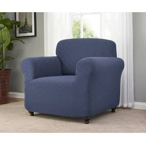 Madison Industries Madison CHECKER-CH-BL Stretch Checkerboard Chair Slipcover, Blue