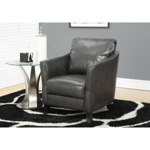 HomeRoots 333598 35 in. Charcoal Leather Look Fabric, Foam & Solid Wood Accent Chair