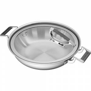 CookCraft CCB-4003-12 Dual Handed Casserole with Glass Lid - Stainless Steel
