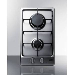 Summit GC22SS 2 Burner Gas Cooktop with Sealed Burners & A Stainless Steel Surface, Stainless Steel