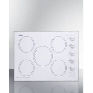 Summit CR5B274W 27 in. Wide 5 Burner Electric Cooktop, Smooth White Ceramic Glass Finish