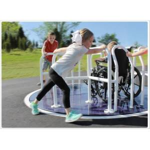 SportsPlay 301-147G 8 x 8 ft. Wheelchair Accessible Mery Go Round, Green & Tan Rails