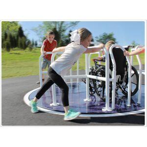 SportsPlay 301-147P 8 x 8 ft. Wheelchair Accessible Mery Go Round, Purple & White Rails