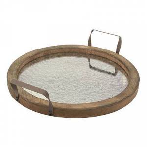 Kirkland's Rustic Round Distressed Mirror and Wood Tray