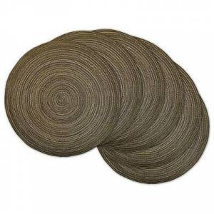 Kirkland's Brown Variegated Round Placemats, Set of 6
