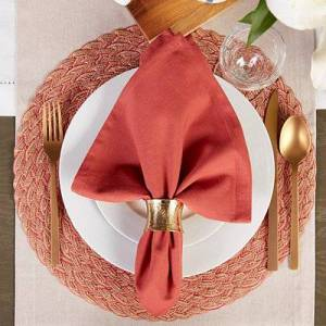 Kirkland's Red Variegated Round Braided Placemats, Set of 6