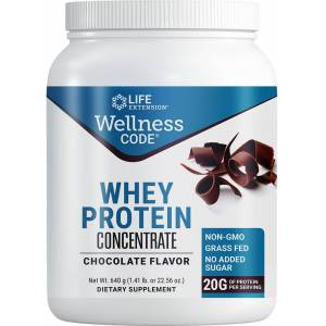 Life Extension Wellness Code® Whey Protein Concentrate, Chocolate (640 Grams)