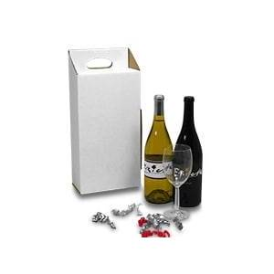 Paper Mart Wine Carry Boxes 2 Pack Cardboard - Quantity: 25 - Die Cut Boxes Width: 3 1/2 Height/Depth: 13 1/4 Length: 7 1/8 by Paper Mart
